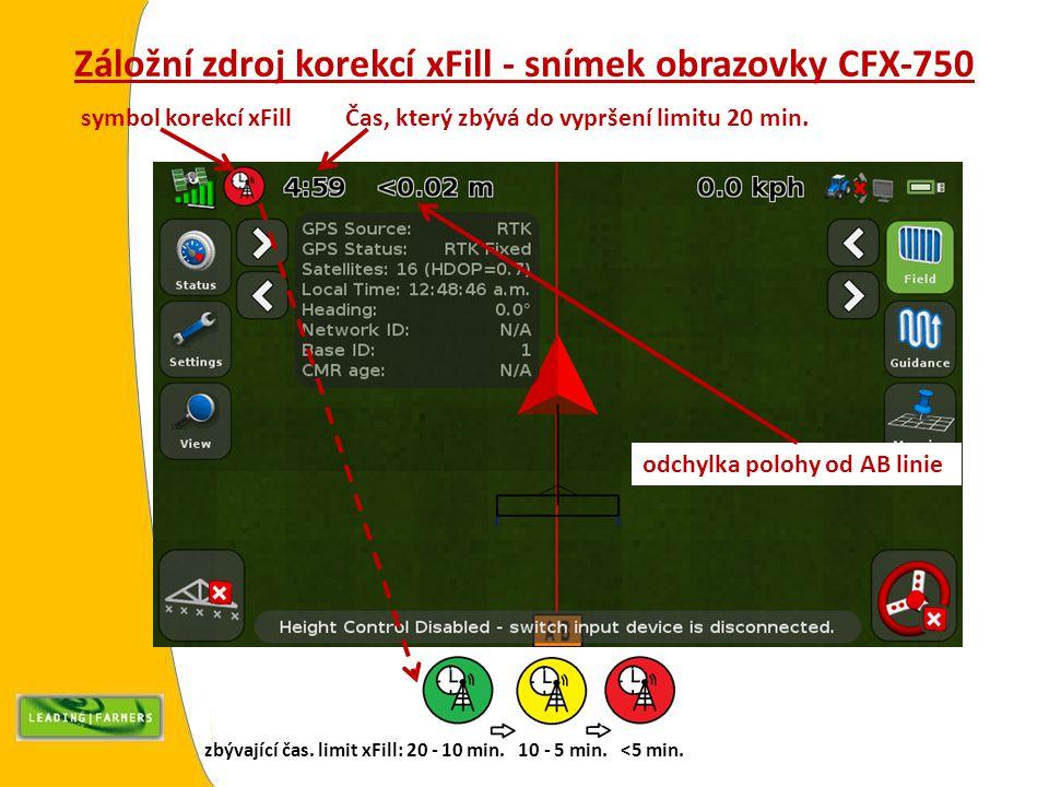 Záložní zdroj korekcí xFill - snímek obrazovky CFX-750