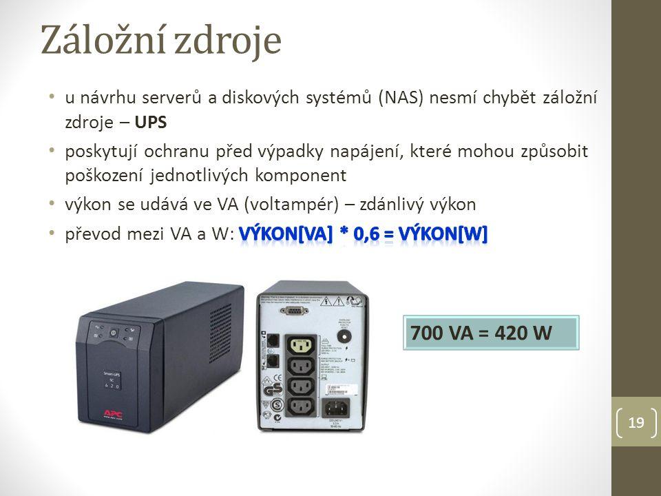 Záložní zdroje u návrhu serverů a diskových systémů (NAS) nesmí chybět záložní zdroje – UPS.