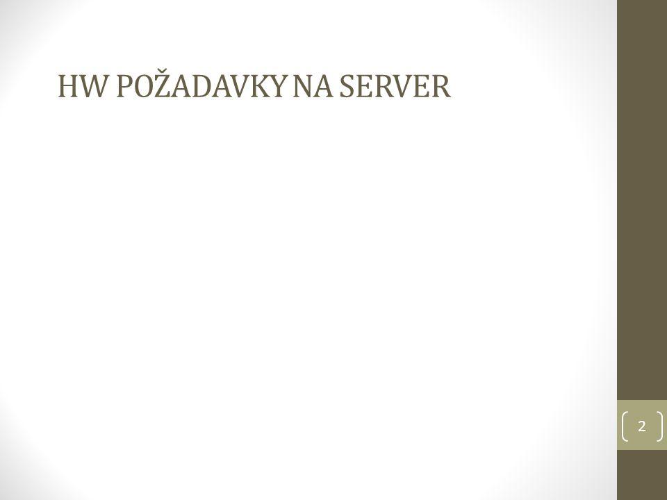 HW požadavky na server