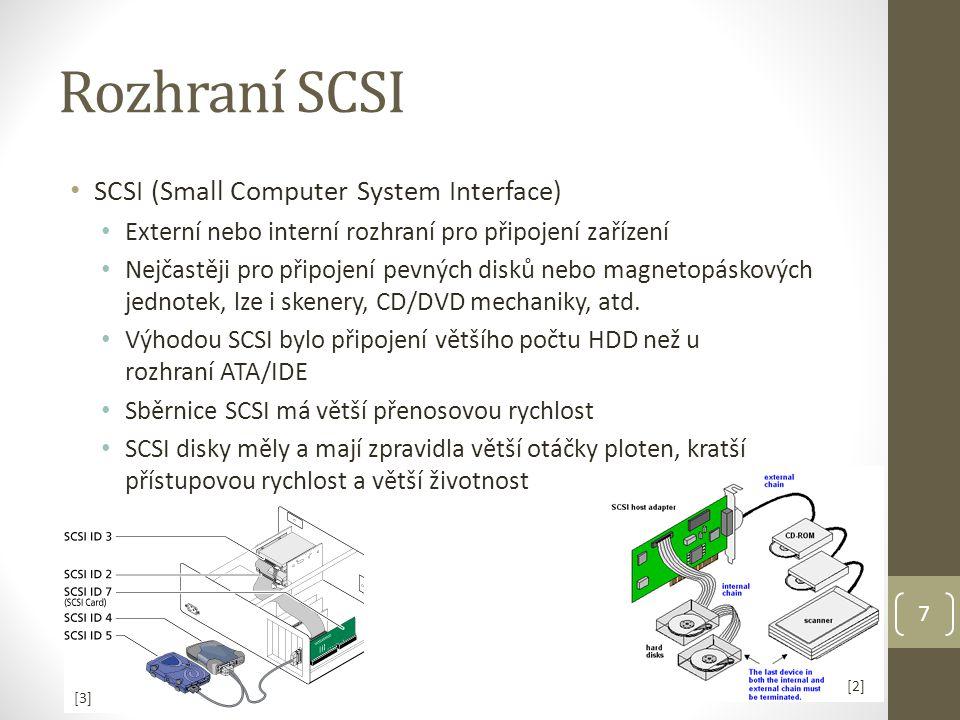 Rozhraní SCSI SCSI (Small Computer System Interface)