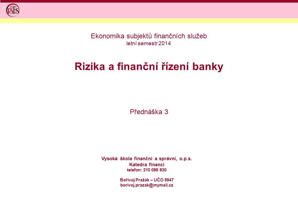 Rizika a finanční řízení banky