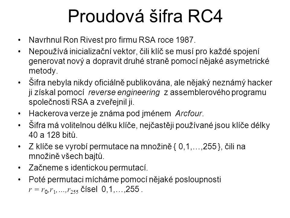 Proudová šifra RC4 Navrhnul Ron Rivest pro firmu RSA roce 1987.