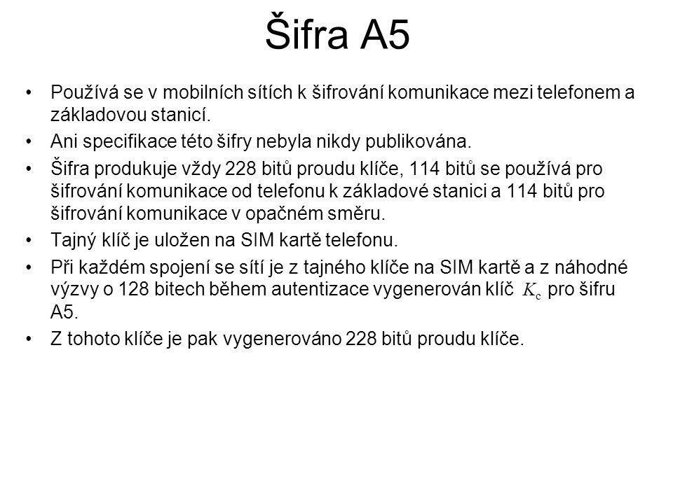 Šifra A5 Používá se v mobilních sítích k šifrování komunikace mezi telefonem a základovou stanicí.