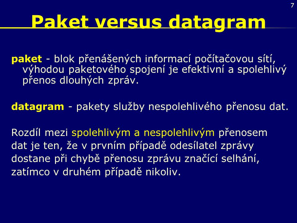 Paket versus datagram