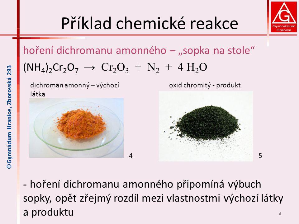 Příklad chemické reakce