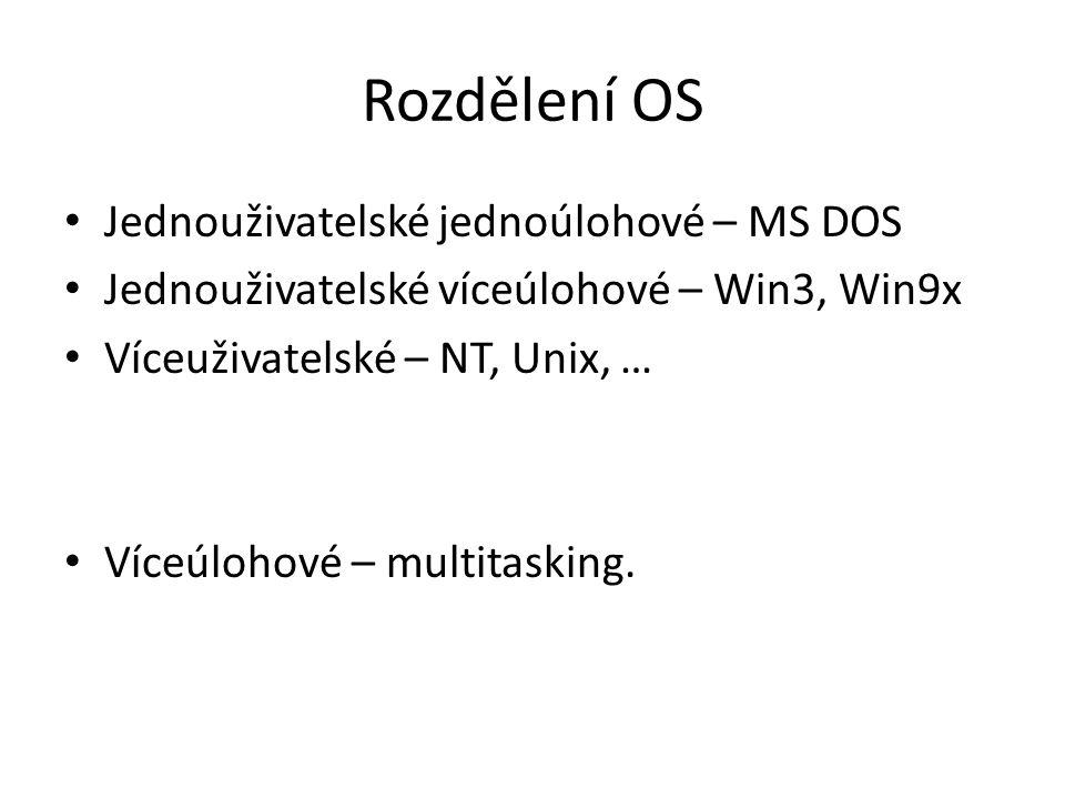 Rozdělení OS Jednouživatelské jednoúlohové – MS DOS