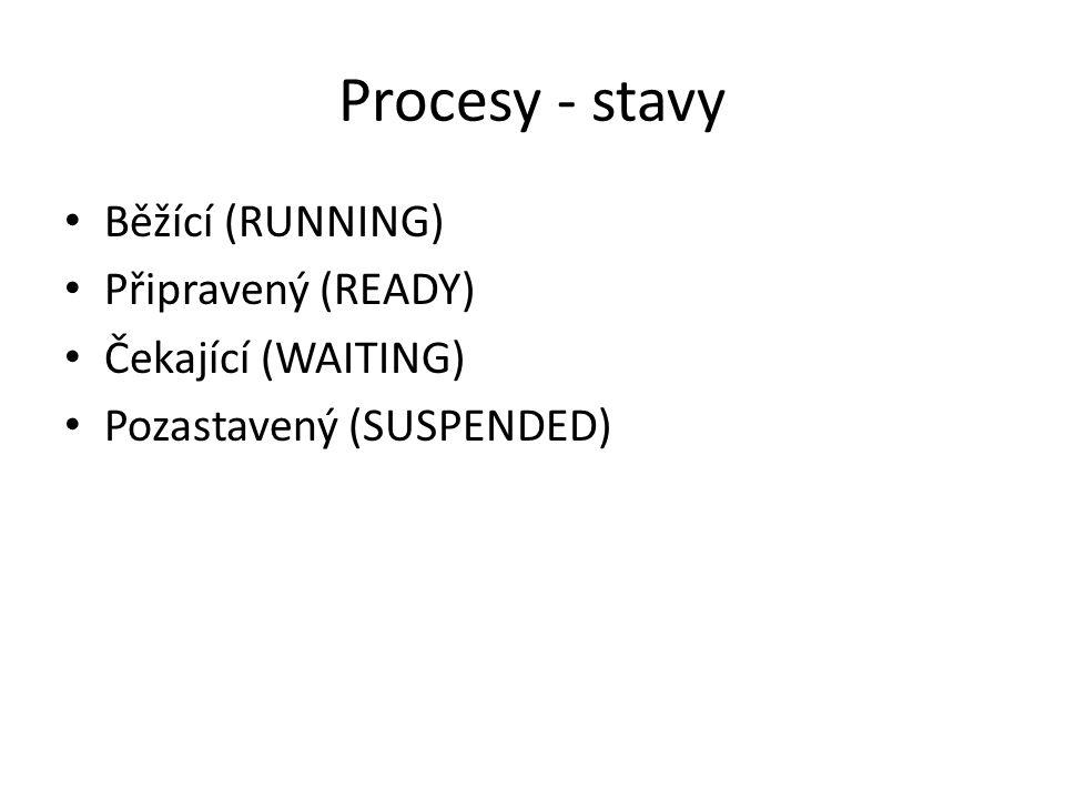 Procesy - stavy Běžící (RUNNING) Připravený (READY) Čekající (WAITING)