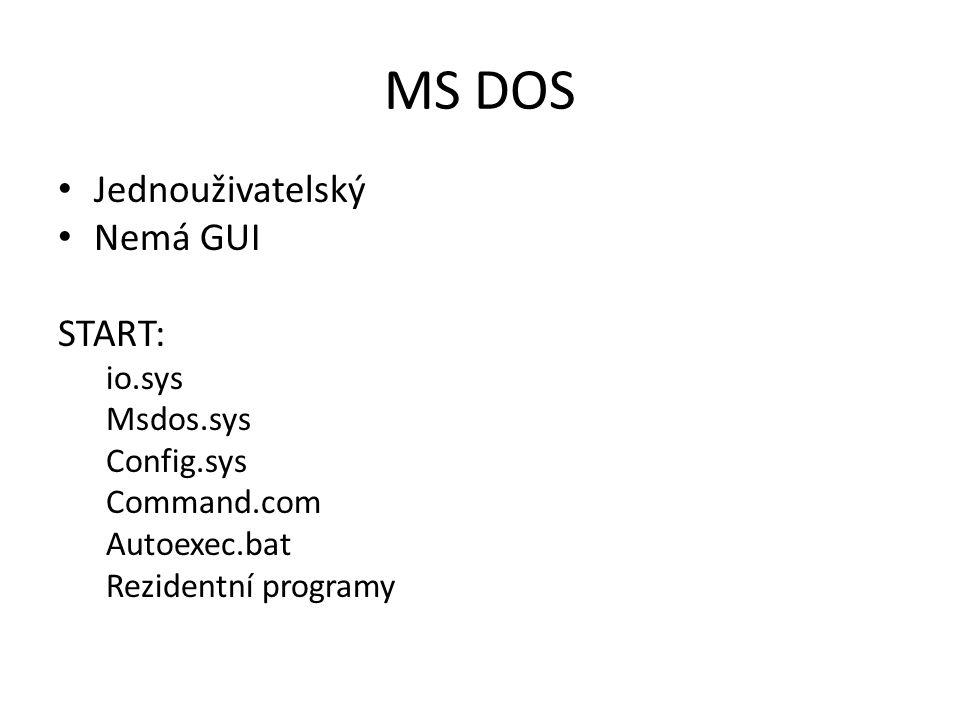 MS DOS Jednouživatelský Nemá GUI START: io.sys Msdos.sys Config.sys