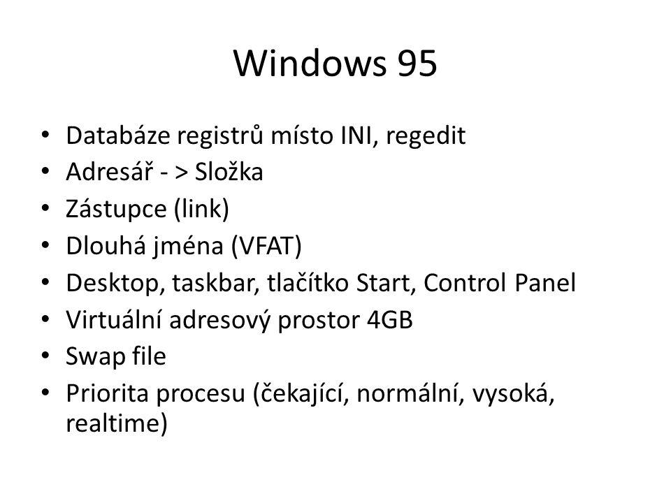 Windows 95 Databáze registrů místo INI, regedit Adresář - > Složka