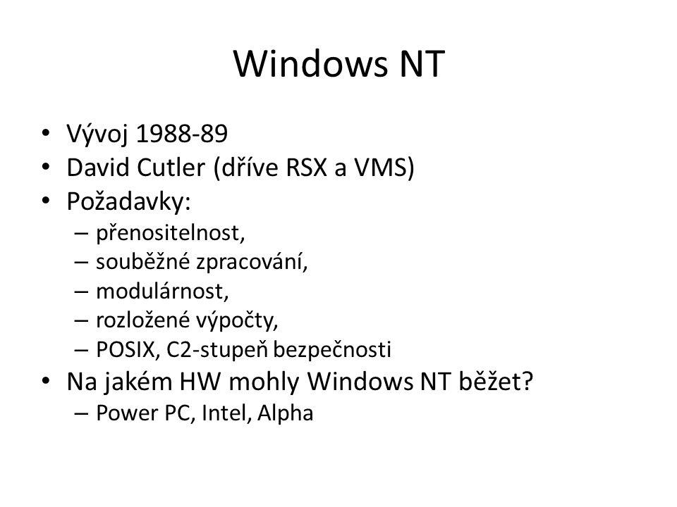 Windows NT Vývoj 1988-89 David Cutler (dříve RSX a VMS) Požadavky: