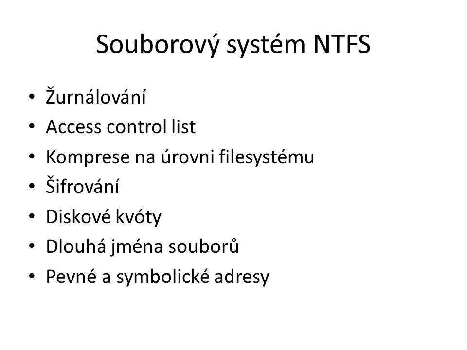 Souborový systém NTFS Žurnálování Access control list