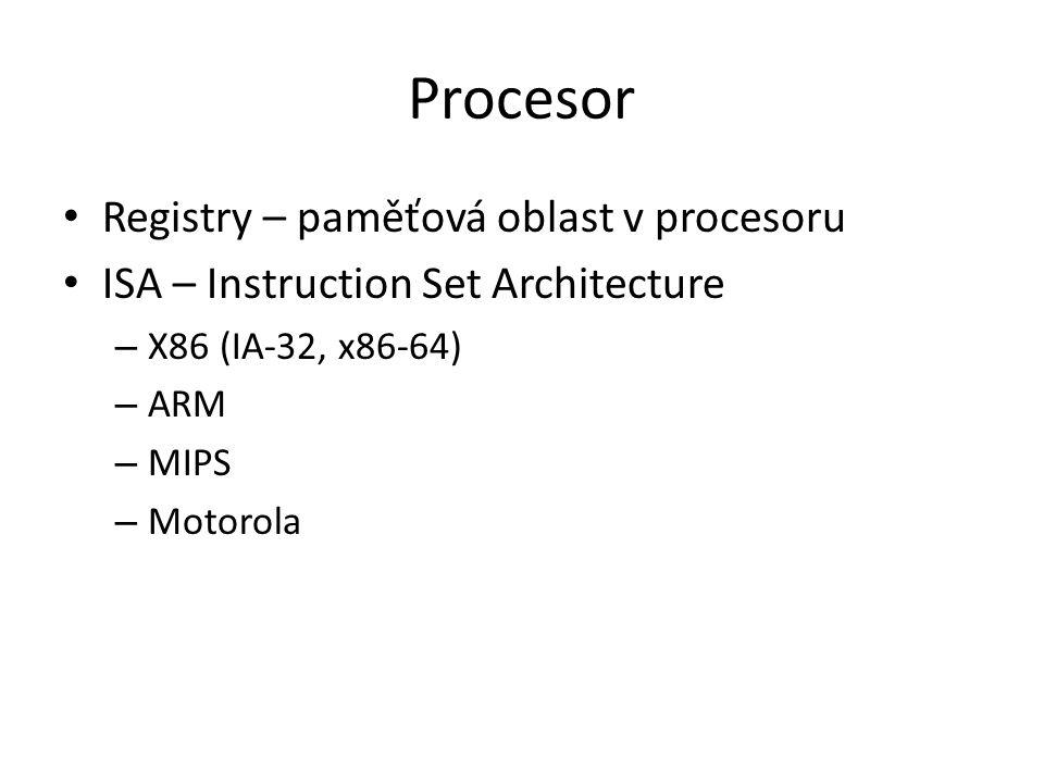 Procesor Registry – paměťová oblast v procesoru