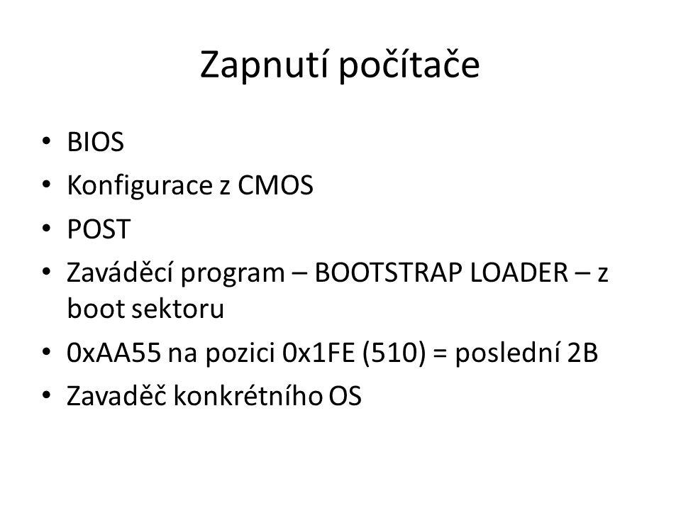 Zapnutí počítače BIOS Konfigurace z CMOS POST