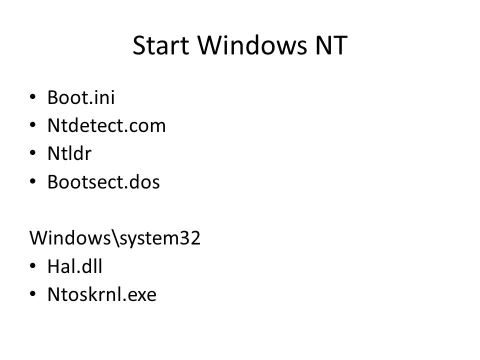Start Windows NT Boot.ini Ntdetect.com Ntldr Bootsect.dos