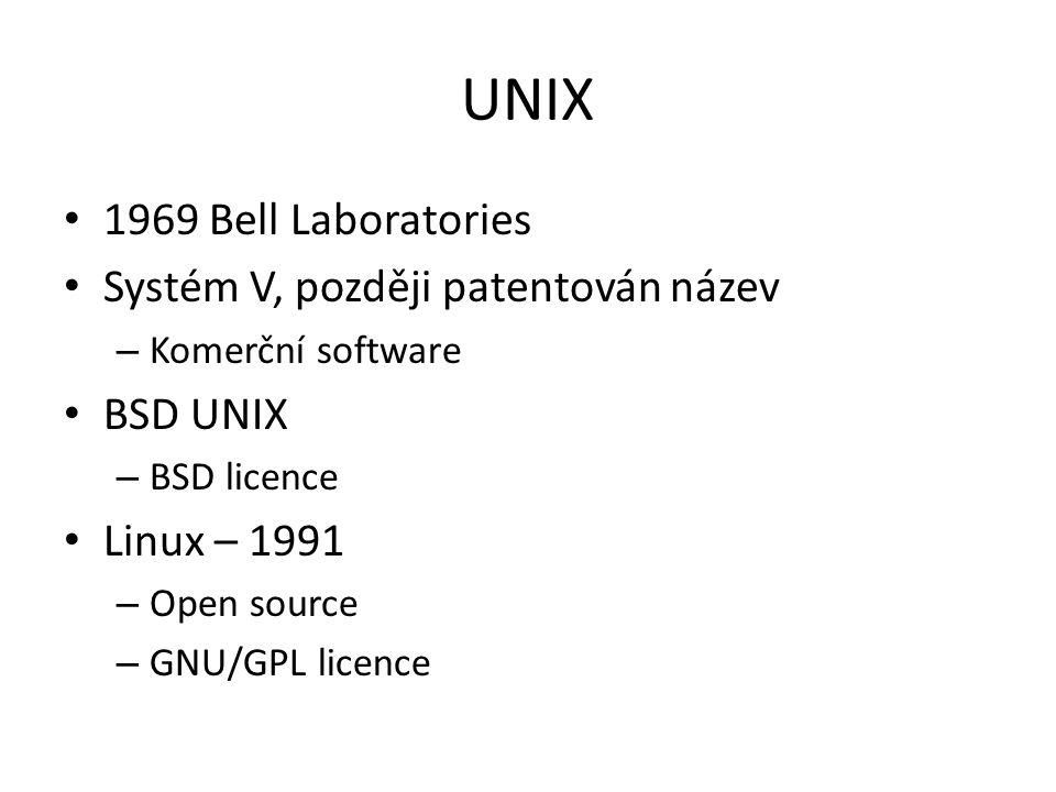 UNIX 1969 Bell Laboratories Systém V, později patentován název