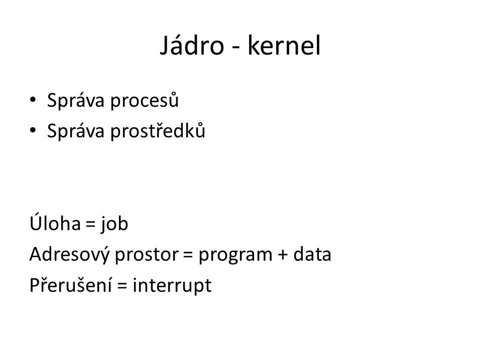 Jádro - kernel Správa procesů Správa prostředků Úloha = job