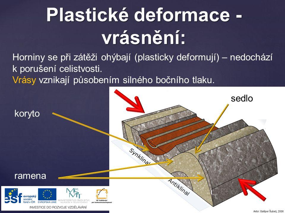 Plastické deformace - vrásnění: