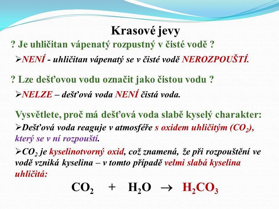 Krasové jevy CO2 + H2O  H2CO3