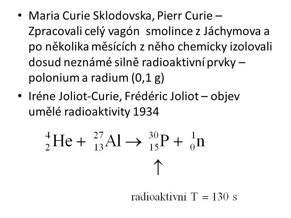 Maria Curie Sklodovska, Pierr Curie –Zpracovali celý vagón smolince z Jáchymova a po několika měsících z něho chemicky izolovali dosud neznámé silně radioaktivní prvky – polonium a radium (0,1 g)