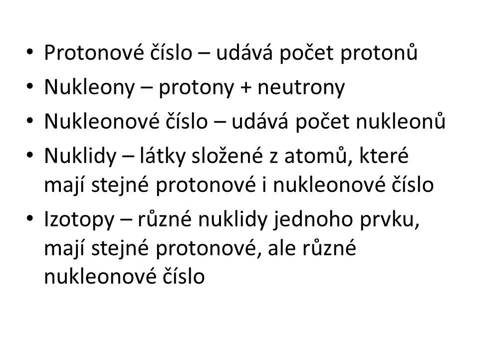 Protonové číslo – udává počet protonů