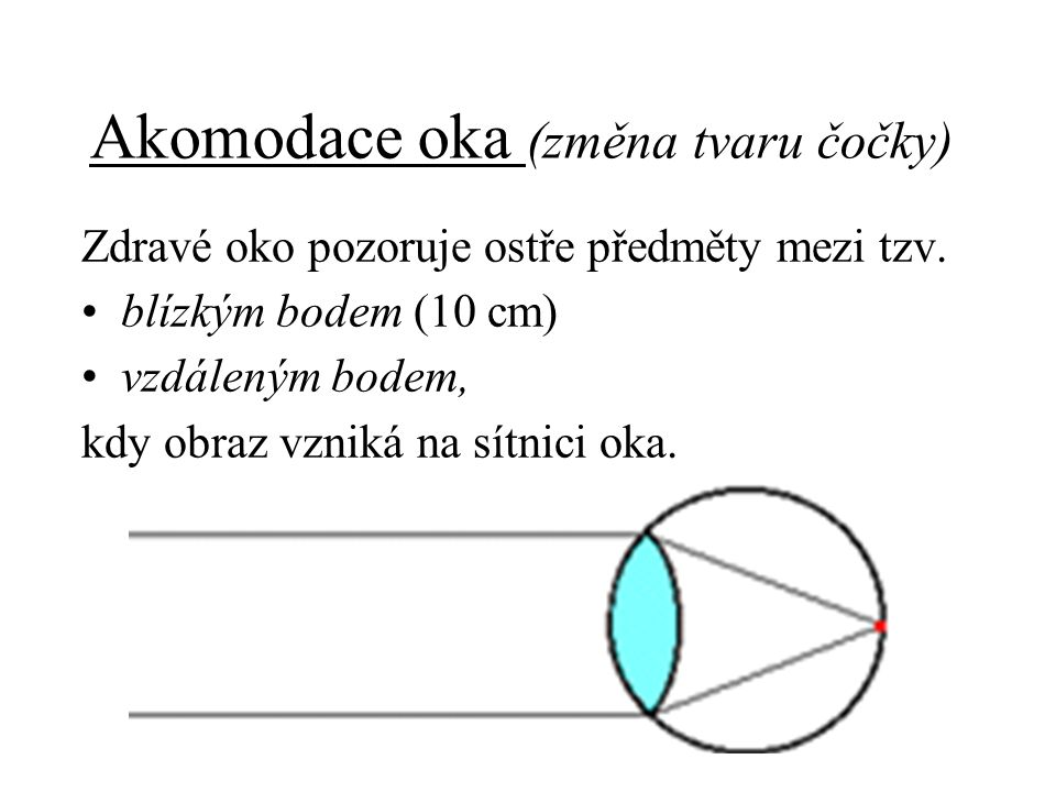 Akomodace oka (změna tvaru čočky)