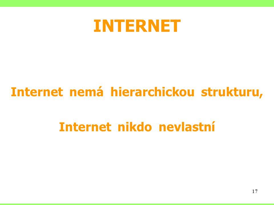 Internet nemá hierarchickou strukturu, Internet nikdo nevlastní