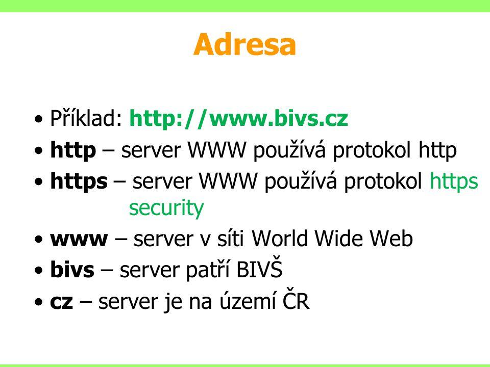 Adresa Příklad: http://www.bivs.cz