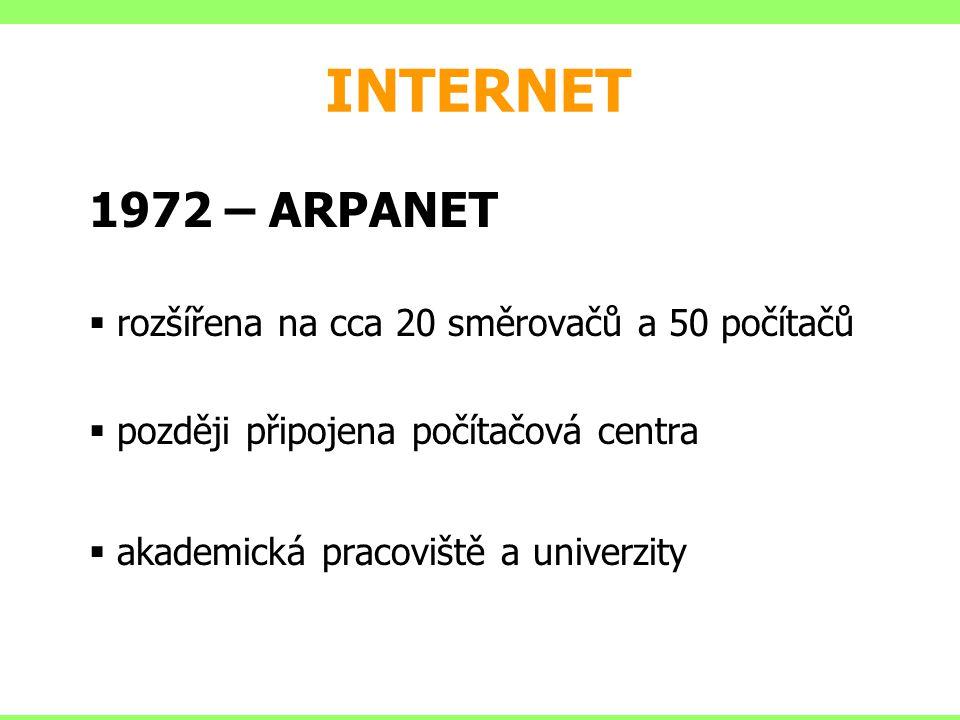 INTERNET 1972 – ARPANET rozšířena na cca 20 směrovačů a 50 počítačů