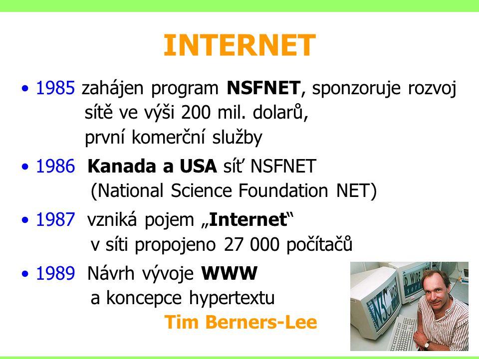 INTERNET 1985 zahájen program NSFNET, sponzoruje rozvoj sítě ve výši 200 mil. dolarů, první komerční služby.