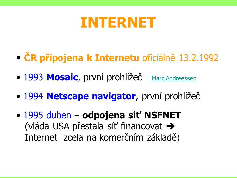 INTERNET ČR připojena k Internetu oficiálně 13.2.1992