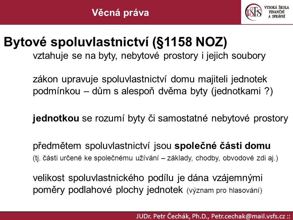 Bytové spoluvlastnictví (§1158 NOZ)