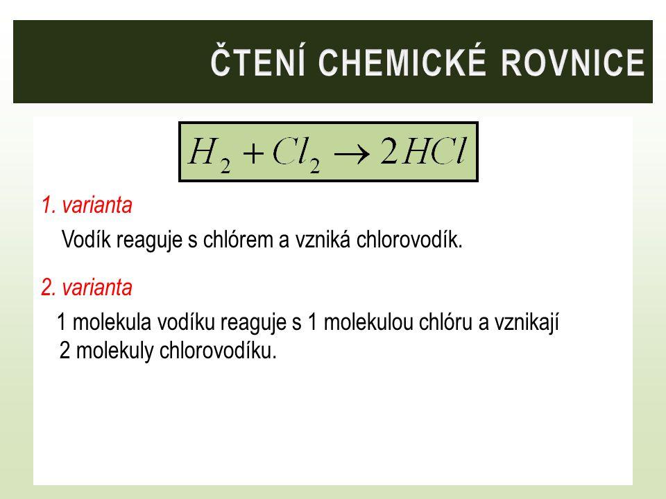 ČTENÍ CHEMICKÉ ROVNICE