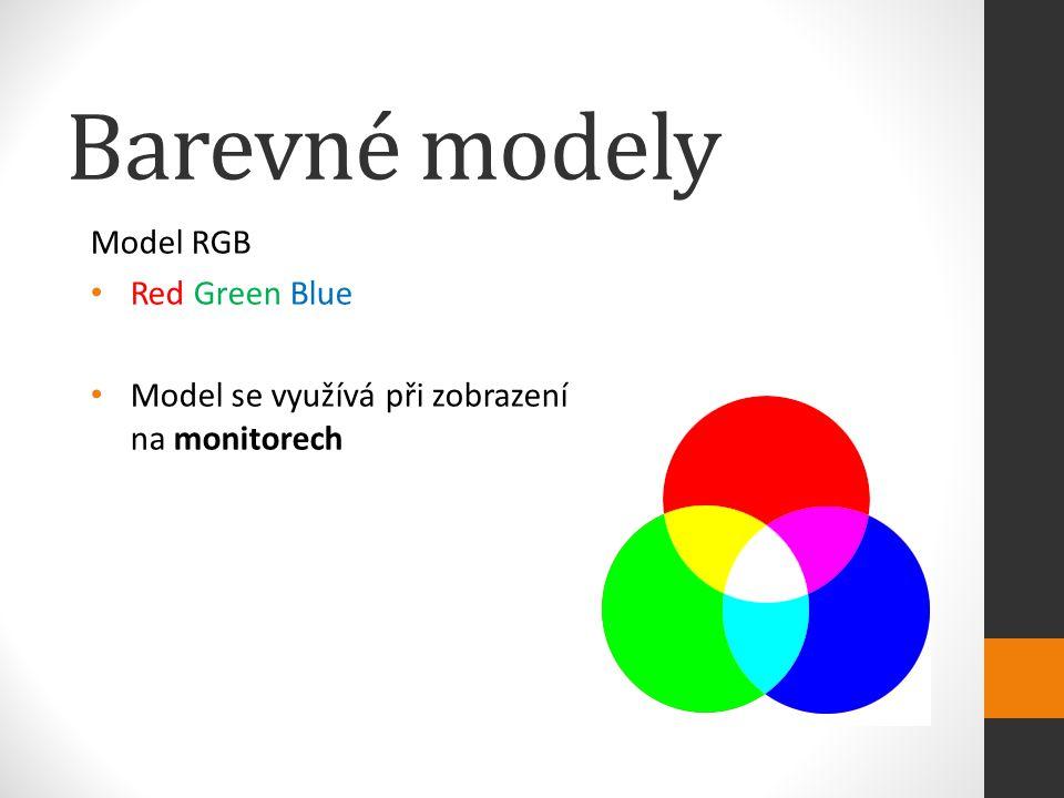 Model RGB Red Green Blue Model se využívá při zobrazení na monitorech