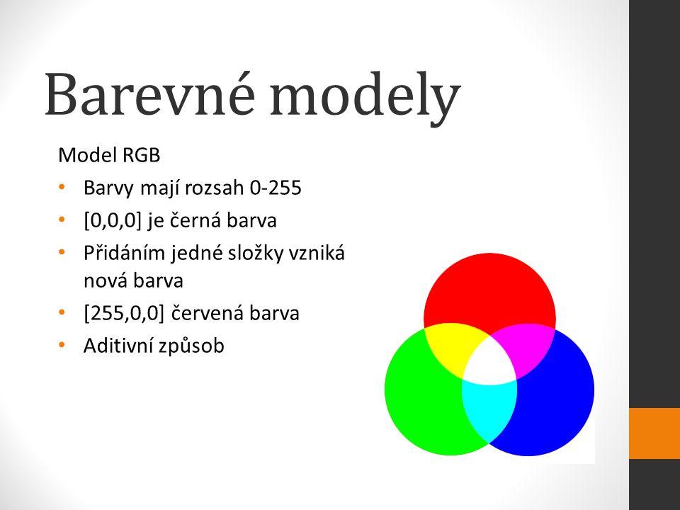 Barevné modely Model RGB Barvy mají rozsah 0-255