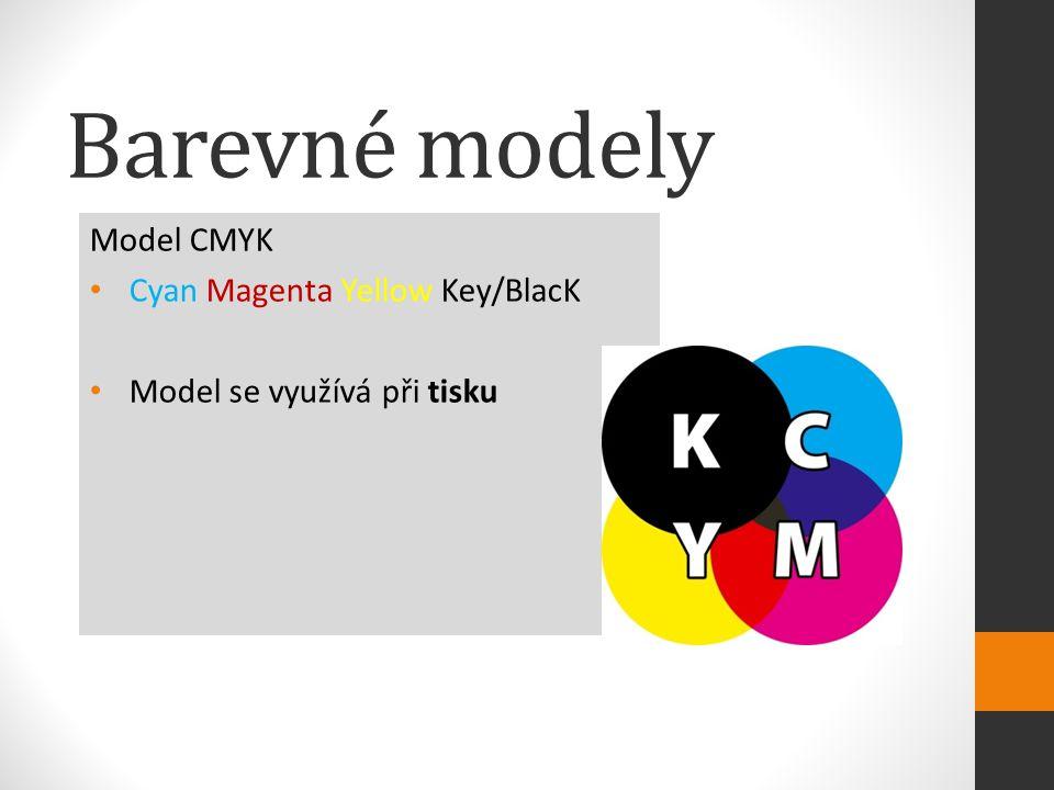 Model CMYK Cyan Magenta Yellow Key/BlacK Model se využívá při tisku