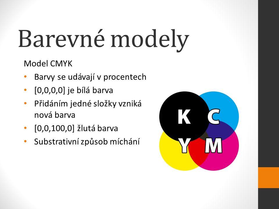 Barevné modely Model CMYK Barvy se udávají v procentech