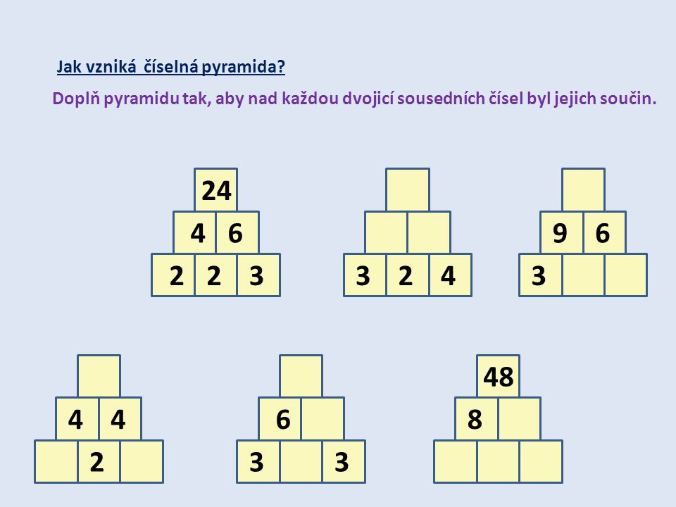 24 4 6 9 6 2 2 3 3 2 4 3 48 4 4 6 8 2 3 3 Jak vzniká číselná pyramida