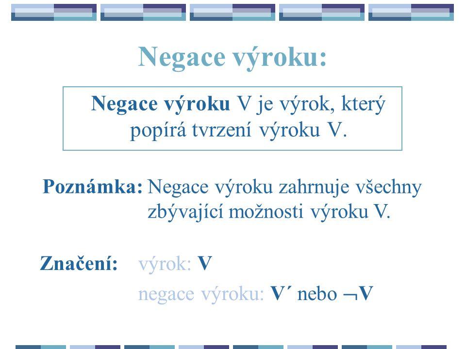 Negace výroku V je výrok, který popírá tvrzení výroku V.
