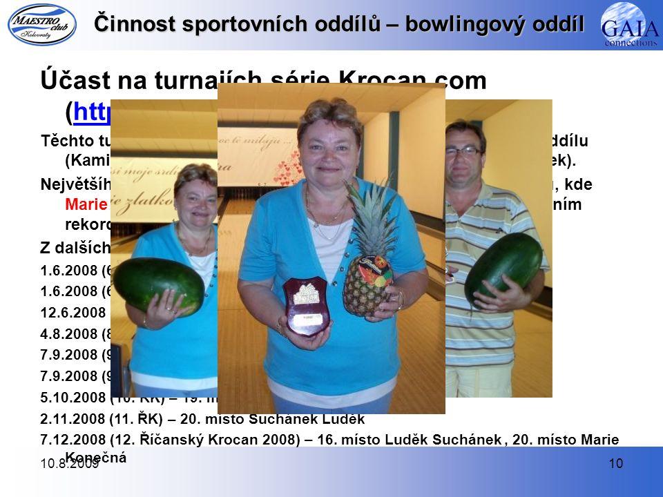 Činnost sportovních oddílů – bowlingový oddíl