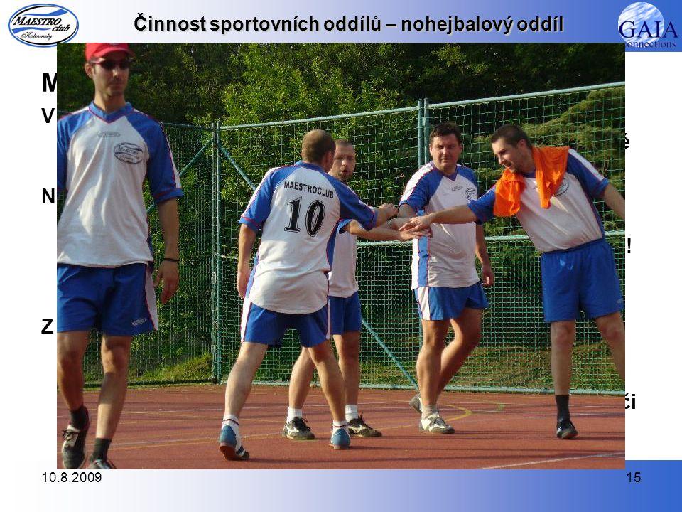 Činnost sportovních oddílů – nohejbalový oddíl