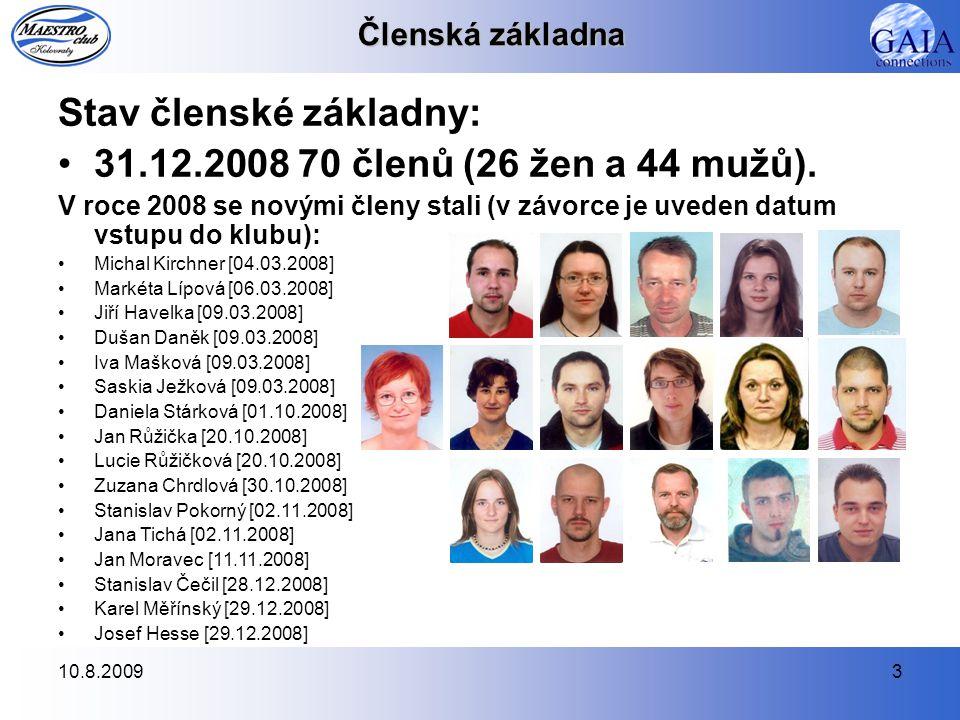 Stav členské základny: 31.12.2008 70 členů (26 žen a 44 mužů).