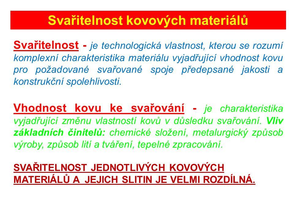 Svařitelnost kovových materiálů