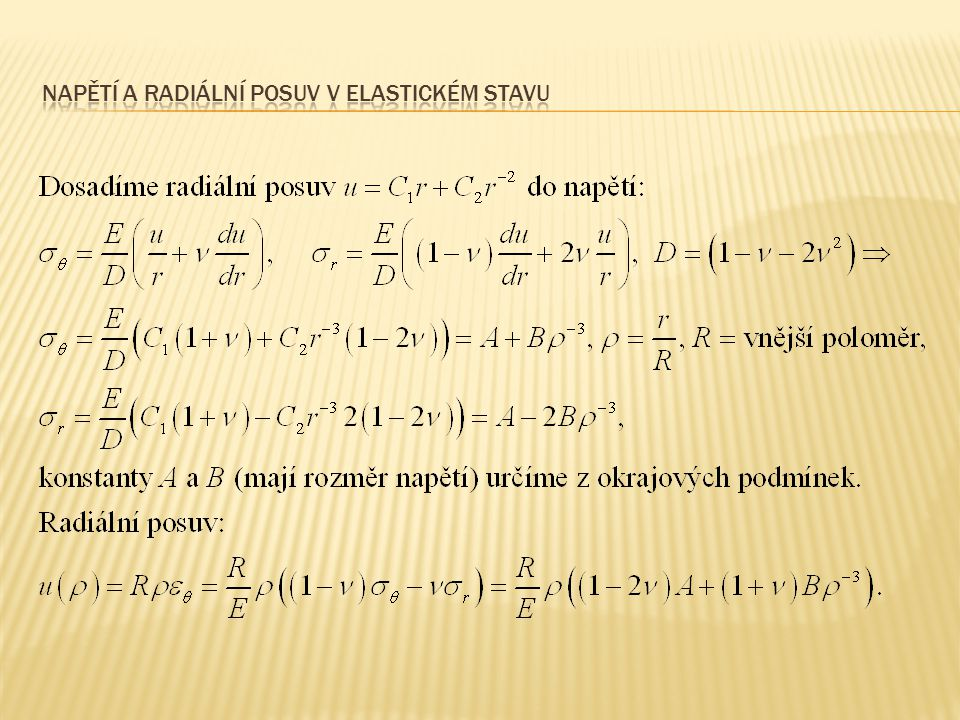 Napětí a radiální posuv v elastickém stavu