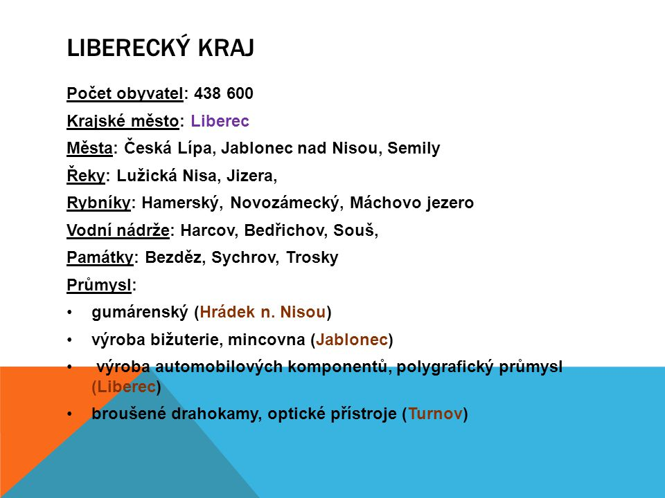 Liberecký kraj Počet obyvatel: 438 600 Krajské město: Liberec