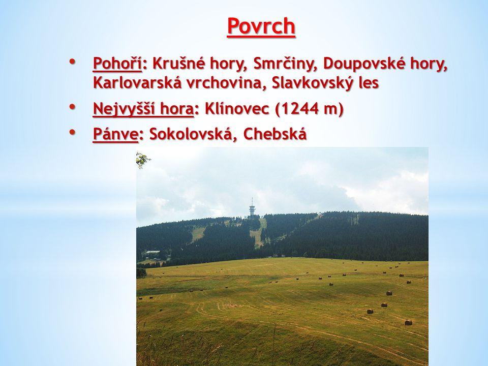 Povrch Pohoří: Krušné hory, Smrčiny, Doupovské hory, Karlovarská vrchovina, Slavkovský les. Nejvyšší hora: Klínovec (1244 m)