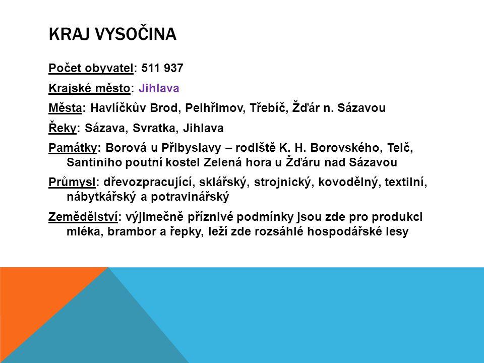 Kraj Vysočina Počet obyvatel: 511 937 Krajské město: Jihlava