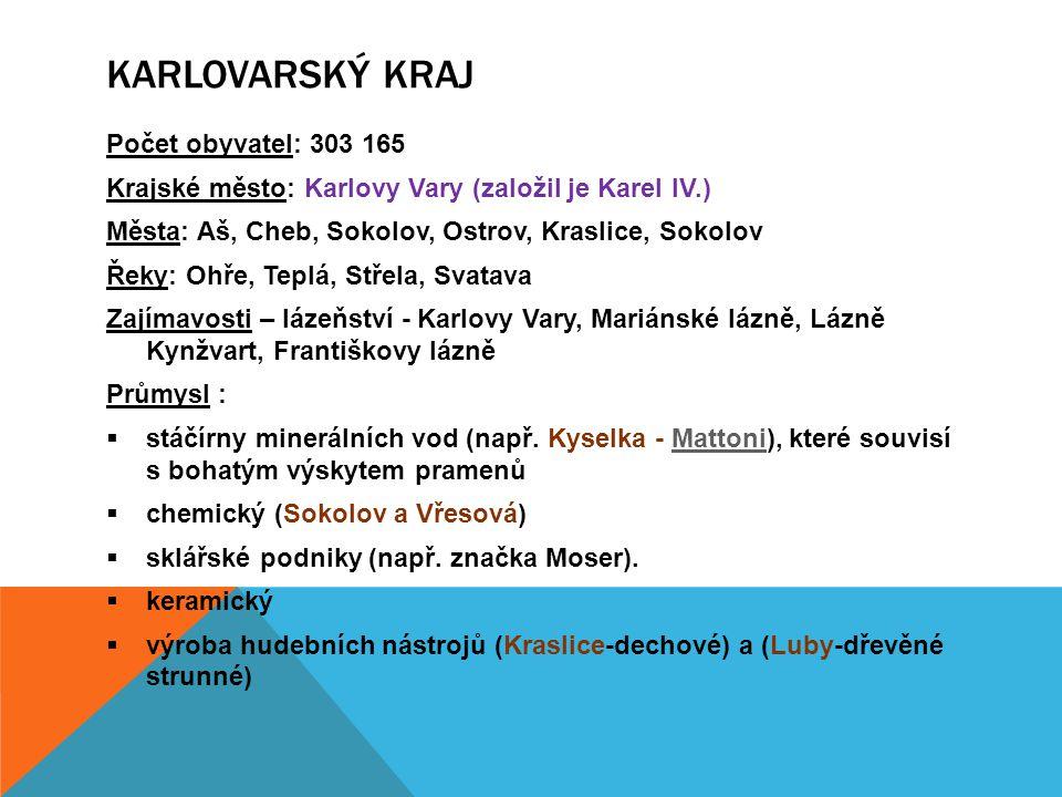Karlovarský kraj Počet obyvatel: 303 165