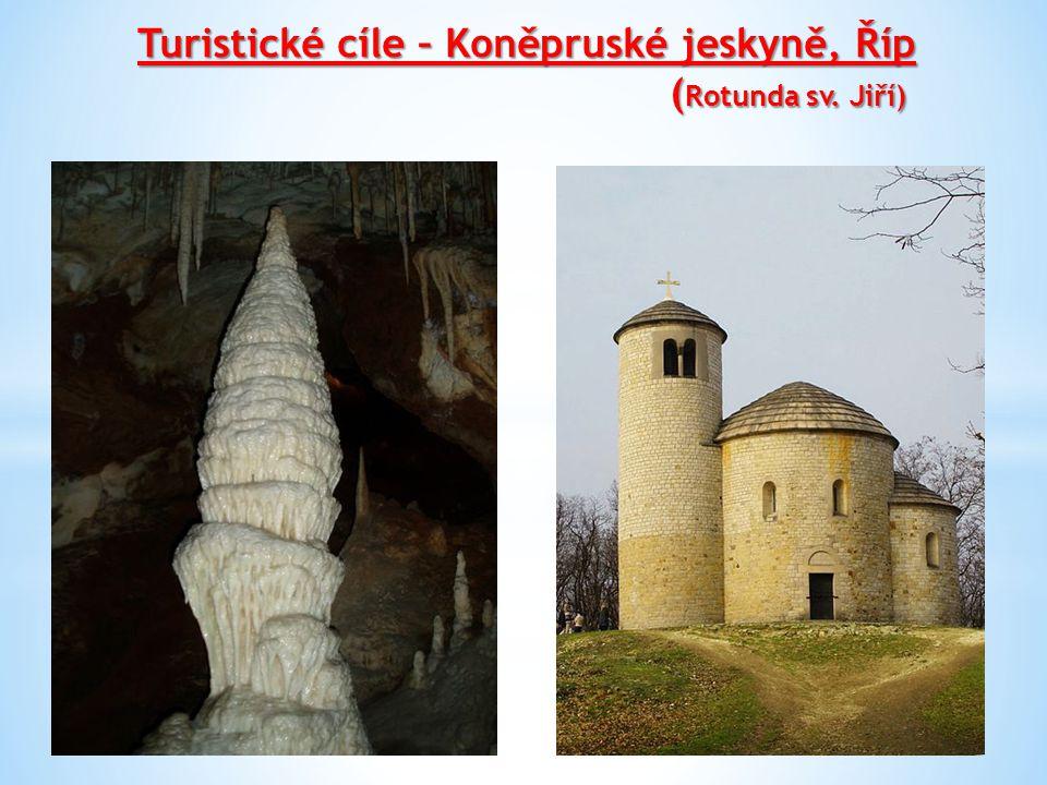 Turistické cíle – Koněpruské jeskyně, Říp (Rotunda sv. Jiří)