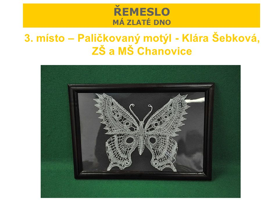 3. místo – Paličkovaný motýl - Klára Šebková, ZŠ a MŠ Chanovice