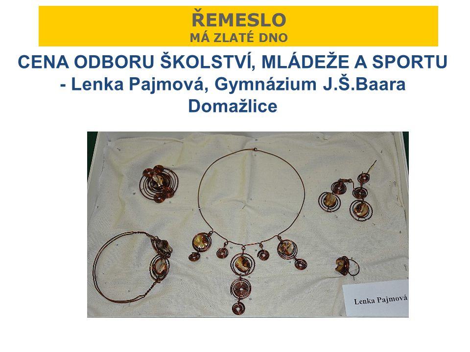 ŘEMESLO MÁ ZLATÉ DNO CENA ODBORU ŠKOLSTVÍ, MLÁDEŽE A SPORTU - Lenka Pajmová, Gymnázium J.Š.Baara Domažlice.